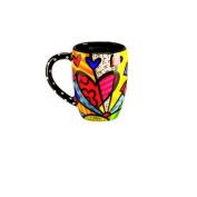 New Romero Britto Round Heart Mug Cup Ceramic Authentic Dolomite Travel Kitchen
