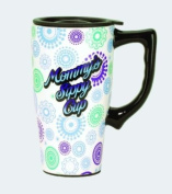"""""""Mommy's Sippy Cup"""" Ceramic Commuter Cup Travel Mug with Lid Moms Mothers"""