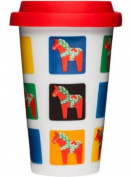 Sagaform Take Away Mug with Dala Horse Pattern, 8-1/60ml
