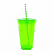 Smart Planet EC10-CCS 470ml Eco Cold Drink Cup with Spiral Candy Cane Straw, Green