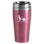 16-ounce Stainless Travel Mug - I Love My German Shepherd - Pink