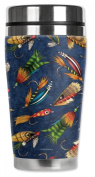 Mugzie® brand 470ml Travel Mug with Insulated Wetsuit Cover - Fly Fishing Lures