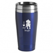 16-ounce Stainless Travel Mug - I Love My Beagle - Blue