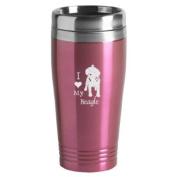 16-ounce Stainless Travel Mug - I Love My Beagle - Pink