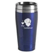16-ounce Stainless Travel Mug - I Love My Dachshund - Blue