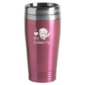 16-ounce Stainless Travel Mug - I Love My Guinea Pig - Pink