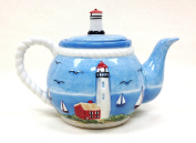 Tuscan Island Lighthouse Hand Painted Teapot 9-0.6cm H 950ml, 81517 by ACK