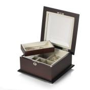 Wallace Dark Walnut Sq Jewel Box w/bevelled lid and tray