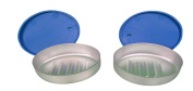 2 Cosmepak Metal Soap Contianers With Blue Lids Travel Camping Storage