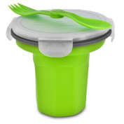 Smart Planet EC-34CER Collapsible Silicone Eco Travel Bowl with Spork, Green