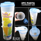 2 Pasta Container Food Storage Spaghetti Cereal Keeper Plastic Tall Jar Tupper !