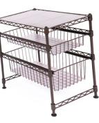 Seville Classics Stackable 3-Tier Sliding Double Basket Cabinet Organiser with Bonus Liners, 29cm W x 44cm D x 47cm H, Satin Bronze