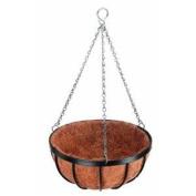 Georgian Hanging Plant Basket with Coco, 35.6cm Black