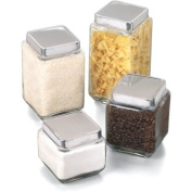Anchor Hocking Square Glass Canisters With Stainless Steel gasketed Lids, Set Of 4