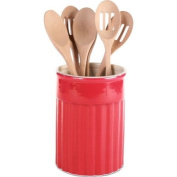 OmniWare Simsbury Red Stoneware Utensil Canister