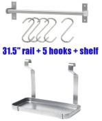 Ikea Grundtal 78.7cm Rail + 5 Hooks + Shelf Stainless Steel Kitchen Storage Organiser Set Utensil Hanger Spice Rack