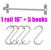 Ikea Grundtal 40.6cm Rail + 5 Hooks Stainless Steel Untensil Hanger Pot Pan Holder Kitchen Storage Organiser Set