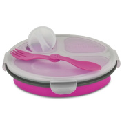 Smart Planet EC-34R3 3-Compartment Collapsible Silicone Eco Meal Kit on The Go with Spork, Pink