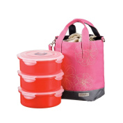 Lock & Lock 54-Fluid Ounce Round Lunch Box with Pink Bag, 6.7-Cup, Divider