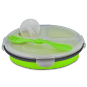 Smart Planet EC-34R3 3-Compartment Collapsible Silicone Eco Meal Kit on The Go with Spork, Green