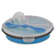 Smart Planet EC-34R3 3-Compartment Collapsible Silicone Eco Meal Kit on The Go with Spork, Blue