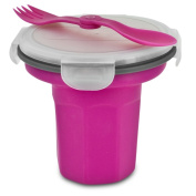 Smart Planet EC-34CER Collapsible Silicone Eco Travel Bowl with Spork, Pink