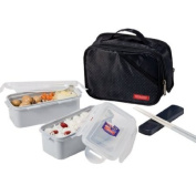 Lock & Lock Lunch Box Set with Black Double Zip Bag