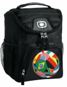 World Flag Soccer Ball Lunch Bag Insulated Lunch Cooler Black World Flag Soccer - Best Size Lunchbox