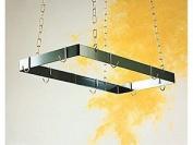 Rectangular Hanging Pot Rack w Hooks