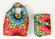 Trendy Sturdy Shopping Tote Bag - Red Blue Flowers Pattern