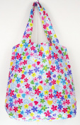 Trendy Sturdy Shopping Tote Bag - Colour Flowers Hearts Pattern