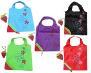 5 Newly Assorted Colours strawberry Reusable Foldable Shopping ECO Bags with pouch shoulder Tote Wholesale