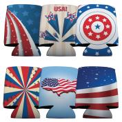 USA Patriotic American Koozie Set -6 designs- Set of 6