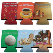 Funny Retirement Themed - Koozie Set of 6 Different Fun Designs!