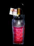 Wine Tote Cool Sack Gel Filled Freeze and Go 4-sided Hot Pink