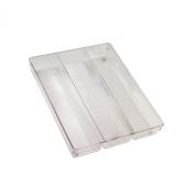 InterDesign Linus Kitchen Drawer Organiser for Silverware, Spatulas, Gadgets - 35cm x 27cm x 5.1cm , Clear