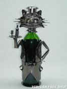 High Quality Genunie Hand Made Caddy Cat Waiter Metal Wine Bottle Holder Free Ship. ZB690-ITE