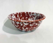 Enamelware Cereal Bowl, Red Marble