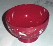 Plastic Rice Bowl Bunny Red #1896