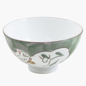 Green Porcelain Kitty Cat Asian Rice Bowls, Set of 4