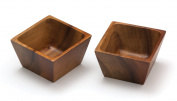 Lipper International Square Pinch Bowls, Acacia, Set of 2 Multi-Coloured