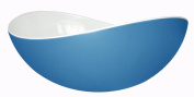 Mebel EN15-M02MV-BLU Medium Size Oblong Salad Bowl in 2-Tone Melamine, Inside White Outside Blue