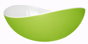 Mebel EN11-M02MV-GRE Large Oblong Salad Bowl in 2-Tone Melamine Inside White Outside Green