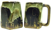 One (1) MARA STONEWARE COLLECTION - 350ml Coffee Cup Collectible Square Bottom Dinner Mug - Elephant Design