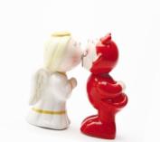 Magnetic Devil & Angel Kissing Salt & Pepper Shakers Set S/P