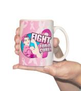 Breast Cancer-Pink Ribbon Coffee Mug - 'Fight for a Cure' - 440ml Ceramic Mug