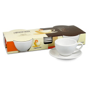 Konitz Coffee Bar Cappuccino 180ml Cups and Saucers, Set of 4, White