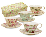 Gracie China Rose Chintz 240ml Porcelain Tea Cup and Saucer, Set of 4