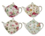 Gracie China Rose Chintz 10.2cm Tea Bag Holder, Set of 4