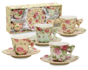 Gracie China Rose Chintz 60ml Porcelain Espresso Cup and Saucer with Butterfly Handles, Set of 4